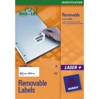 Avery Labels Removable Laser 12 per Sheet 99.1x42.3mm White Ref L4743REV-25 [300 Labels]