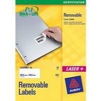 Avery Labels Removable Laser 27 per Sheet 63.5x29.6mm White Ref L4737REV-25 [675 Labels]