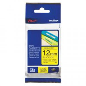 Brother P-touch TZ- Label Tape 12mmx8m Black on Yellow Code TZ-631