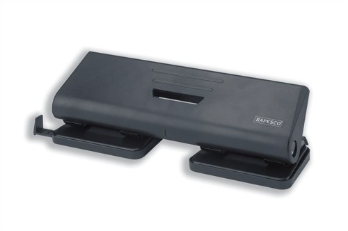 Rapesco 75P Punch 4-Hole ABS-top Capacity 16x 80gsm Black Ref PF75P0B2