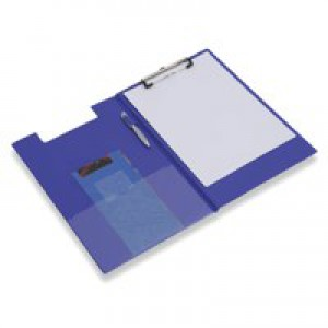 Clipboard Fold Over with Pocket and Pen Holder Foolscap Blue
