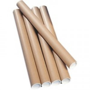 Postal Tube Cardboard with Plastic End Caps L760xDia.75mm [Pack 12]