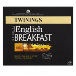 Twinings Tea Bags Traditional English Breakfast Fine High Quality Aromatic Pack 100 Code A00805