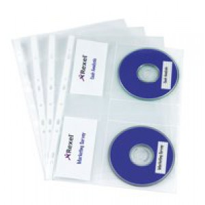 Rexel Nyrex CD Pocket Multipunched with Label Sections for 2 CDs A4 Clear Ref 2001007 [Pack 5]