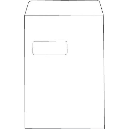 White Box Envelope Pocket Press Seal Window 100gsm White C4 [Pack 250]