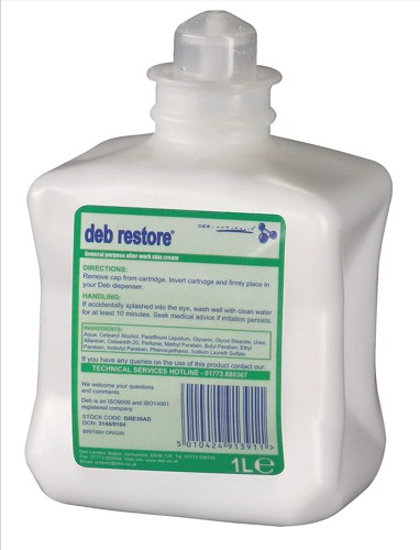 DEB Restore After Work Hand Cream Refill Cartridge 1 Litre Code DRE39AD