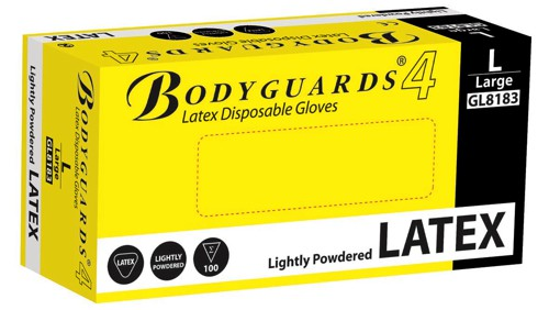 Polyco Bodyguards4 Powdered Disposable Latex Gloves Medium Ref GL8182 [Pack 100]
