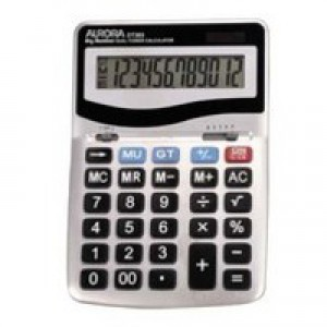 Aurora Calculator Desktop Battery/Solar-power 12 Digit 3 Key Memory 133x198x34mm Ref DT303