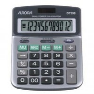 Aurora DT398 Desktop Calculator Battery/Solar-power 12 Digit 3 Key Memory