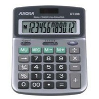 Aurora Calculator Desktop Battery/Solar-power 12 Digit 3 Key Memory 103x138x28mm Ref DT398
