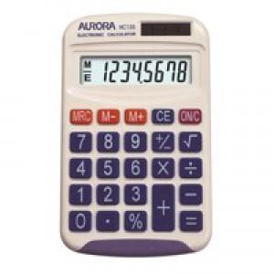Aurora HC133 Handheld Calculator Battery/Solar-power 8 Digit 3 Key Memory
