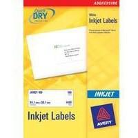 Avery Quick DRY Addressing Labels Inkjet 21 per Sheet 63.5x38.1mm White Ref J8160-25 [525 Labels]