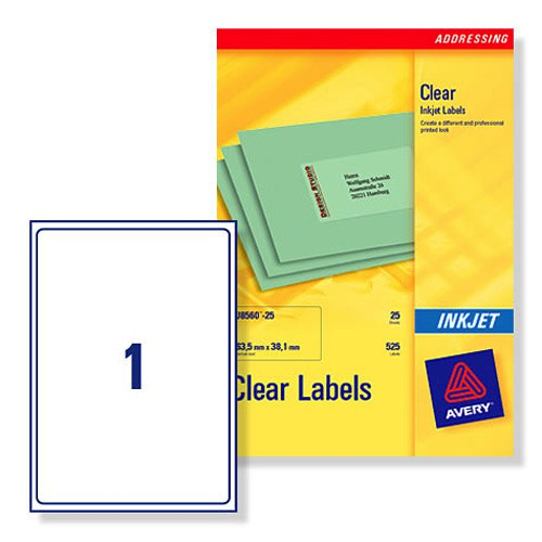 Avery Clear Addressing Labels 1 per Sheet 210x297mm Ref J8567-25 [25 Labels]