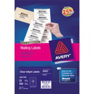 Avery Mini Labels Inkjet 65 per Sheet 38.1x21.2mm Clear Ref J8551-25 [1625 Labels]