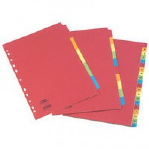 Concord Bright Subject Dividers Europunched 5-Part Extra Wide A4 Assorted Ref 52199