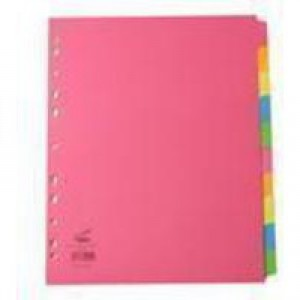 Concord Bright Subject Dividers Europunched 10-Part Extra Wide A4 Assorted Ref 52299