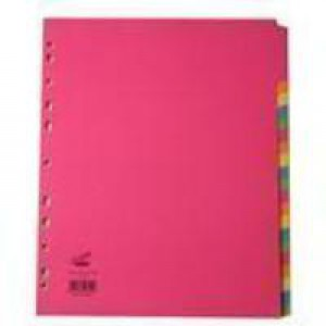 Concord Bright Subject Dividers Europunched 20-Part Extra Wide A4 Assorted Ref 52399