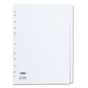Concord Subject Dividers 230 Micron Punched 11 Holes 20-Part A4 White Ref 79601/96