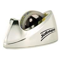 Sellotape Tape Dispenser Large Desktop Non-slip Roll Capacity 25mm Width 66m Length Chrome Ref 4640