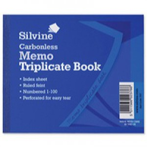 Silvine Carbonless Triplicate Memo Book Blue 707