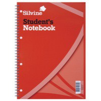 Silvine Student Spiral Notebook Wirebound Soft Cover Ruled Punched 120 Pages 210x297mm Ref 141 [Pack 12]