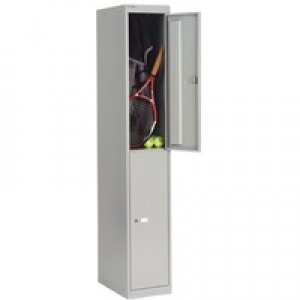 Bisley Locker Steel 2-Door W305xD305xH1802mm Goose Grey Ref CLK122-73