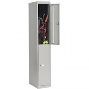 Bisley Locker Deep Steel 2-Door W305xD457xH1802mm Goose Grey Ref CLK182-73