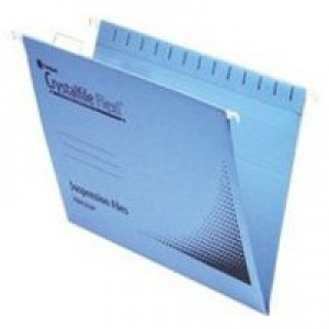Rexel Crystalfile Flexifile Suspension File Manilla V-base Foolscap Blue Ref 3000041 [Pack 50]