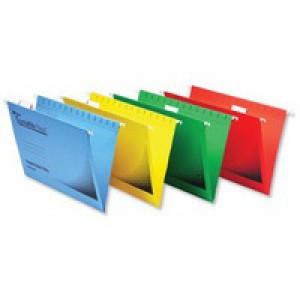Rexel Crystalfile Flexifile Suspension File Manilla V-base Foolscap Yellow Ref 3000043 [Pack 50]