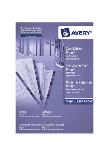 Avery Index Unpunched 1-5 White A4 Ref 05247061 [Pack 20]