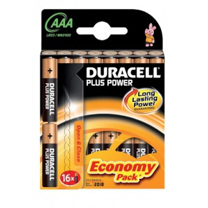 Duracell Plus Power Battery Alkaline 1.5V AAA Ref 81275276 [Pack 16]