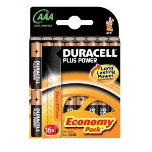 Duracell Plus Power Battery Alkaline 1.5V AAA Ref 81275276 [Pack 16]