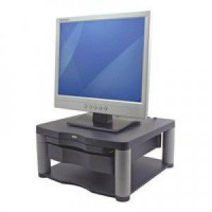 Fellowes Premium Monitor Riser Plus Grahpite with storage drawer and copyholder
