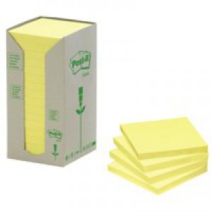 Post-it Note Recycled Tower Pack 76x76mm Pastel Yellow Ref 654-1T [Pack 16]