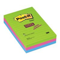 Post-it Super Sticky Removable Notes Pad 90 Sheets 102x152mm Ultra Assorted Ref 660-3SSUC [Pack 3]