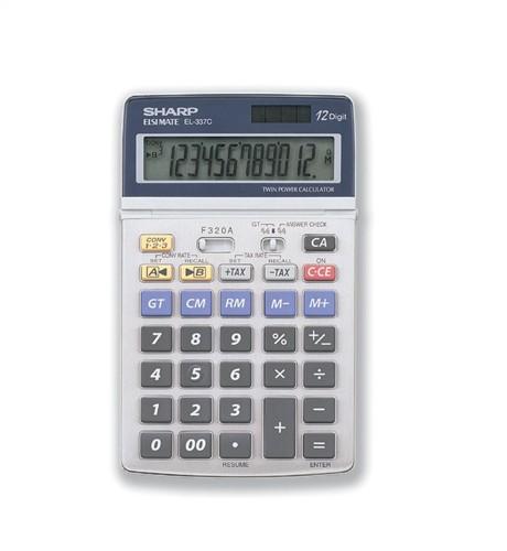 Sharp Calculator Tax Euro Desktop Tax Battery/Solar-power 12 Digit 108x175x22mm Ref EL337C