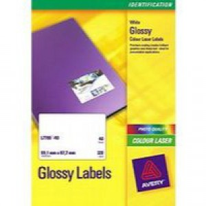Avery Colour Laser Labels 99.1x67.7mm 8 Per Sheet White 320 Labels Code L7765-40