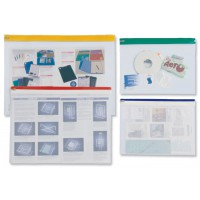 Image for INDX Zip Pouch Lightweight Polythene Clear with Coloured Seal A3 Assorted Ref 50027 [Pack 25]
