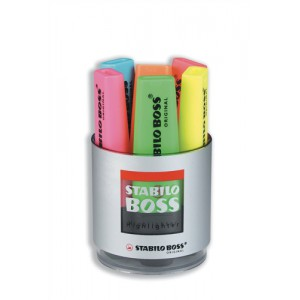 Stabilo Boss Desk Set of Six Highlighters in Pot Assorted Code 7006