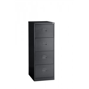 Trexus Filing Cabinet Steel Lockable 4-Drawer W470xD622xH1321mm Black Ref CC4H1A av1