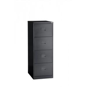 Filing Cabinet Steel Lockable 4-Drawer Black