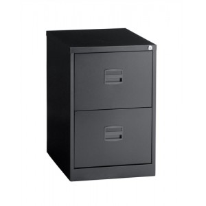 Filing Cabinet Steel Lockable 2-Drawer Black