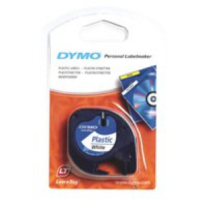 Dymo LetraTag Tape Plastic 12mmx4m Pearl White Code S0721610