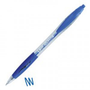 Bic Atlantis Ball Pen Retractable Cushioned Grip 1.0mm Tip 0.4mm Line Blue Ref 887131 [Pack 12]