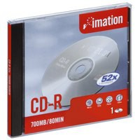 Image for Imation CD-R Recordable Disk Slim Cased Write-once 52x Speed 80Min 700MB Ref i18645 [Pack 10]