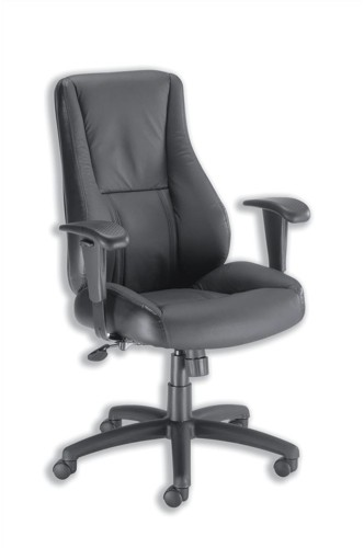Trexus Hampshire Manager Armchair Adjustable Arms Back H660mm W520xD510xH470-550mm Leather Black