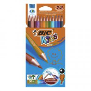 Bic Kids Evolution Pencils Colour Splinter-proof Wood-free Vivid Assorted Ref 829029 [Wallet 12]