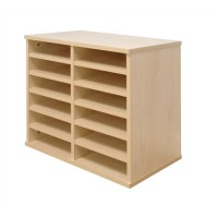 Image for Tercel Post Room Sorter Hutch Multi-use Single Height 2 Bay Can Fit 12 Shelves W640xD360xH638mm Maple