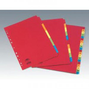 Concord Bright Subject Dividers Europunched 10-Part A4 Assorted Code 50899