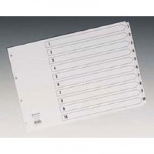 Concord Classic Index Mylar-reinforced Oblong Punched 4 Holes 1-10 A3 White Ref 04601/CS46